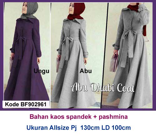 Baju Gamis Modern Terbaru - Detail produk model Baju Gamis Abu dhabi 961: Bahan : Kaos Spandek Kode : BF902961 Ukuran : Allsize, Panjang 130cm, Lingkar dada 100cm Warna : Ungu, Abu H