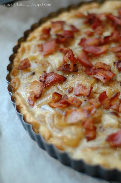 """FRENCH ONION & BACON TART ~ Make pie crust using fave recipe; press into 9"""" tart pan w/removable bottom & use pie weights for blind baking. Fry up pkg of bacon, then add 1-2 sliced onions & fresh thyme to pan with rendered bacon fat, season, & let cook until onions are caramelized. Let cool slightly; combine with a mix of eggs & Half-&-Half, & pour into baked tart shell.  Top with crispy bacon. Bake at 375*F for about 25 mins until set.  Let it cool for a bit, then unmold it from the tart…"""