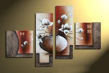 100% handgeschilderde 4 stks/set moderne olieverfschilderij wall art pictures voor home decoratie bloemen top Woondecoratie(China (Mainland))