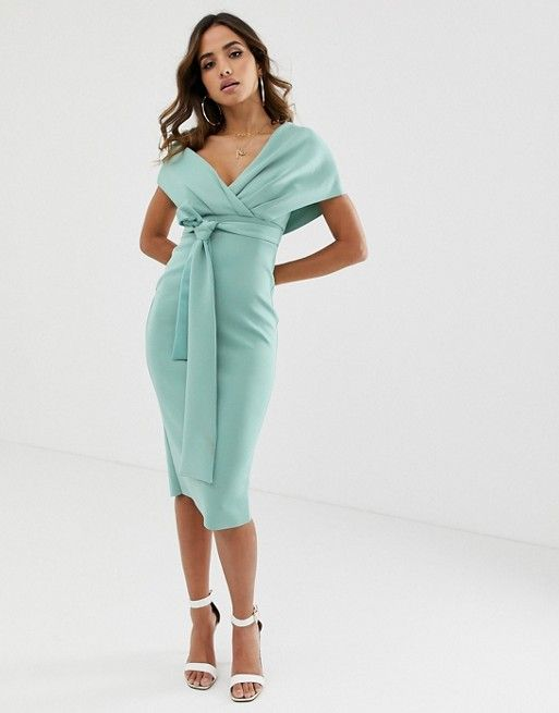 b0ddbe774015 DESIGN fallen shoulder midi pencil dress with tie detail in 2019 | S ...