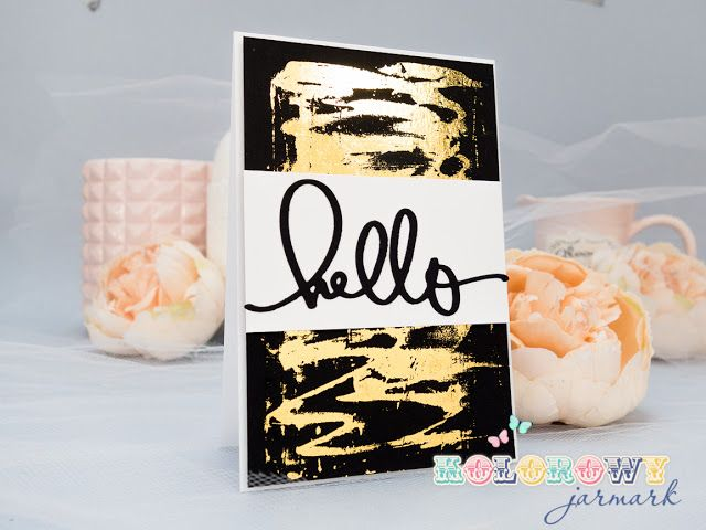 Hello card with deco foil and glue idea #scrapbooking #decofoil #hello #clean&simple #cardmaking #card #handmadecard