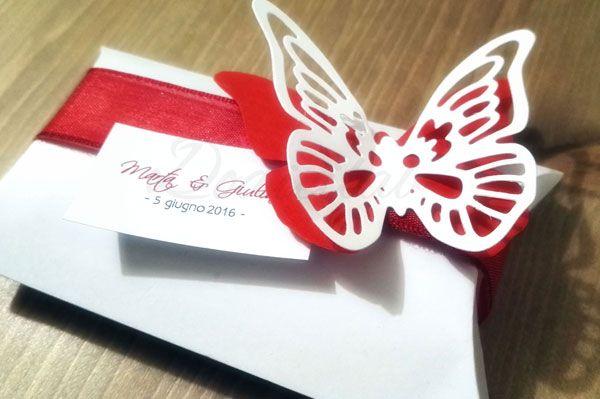 scatoline portaconfetti o bomboniera personalizzate tema farfalle e colore rosso