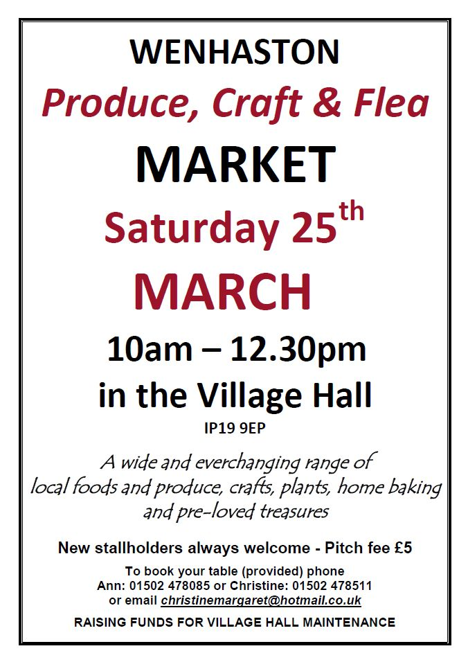 "Date for Your Diary: Saturday 25 March. Craft Market. Wenhaston Village Hall. 10am - 12:30pm. ""Just All Good Things"" will be there selling homemade and natural products :D xxx"