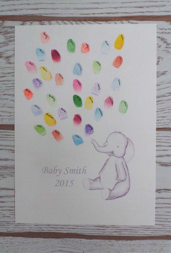Baby Keep Sake Elephant Illustration Thumb Print Art
