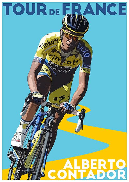 Tour De France Poster Alberto Contador door TroutLifeStudio