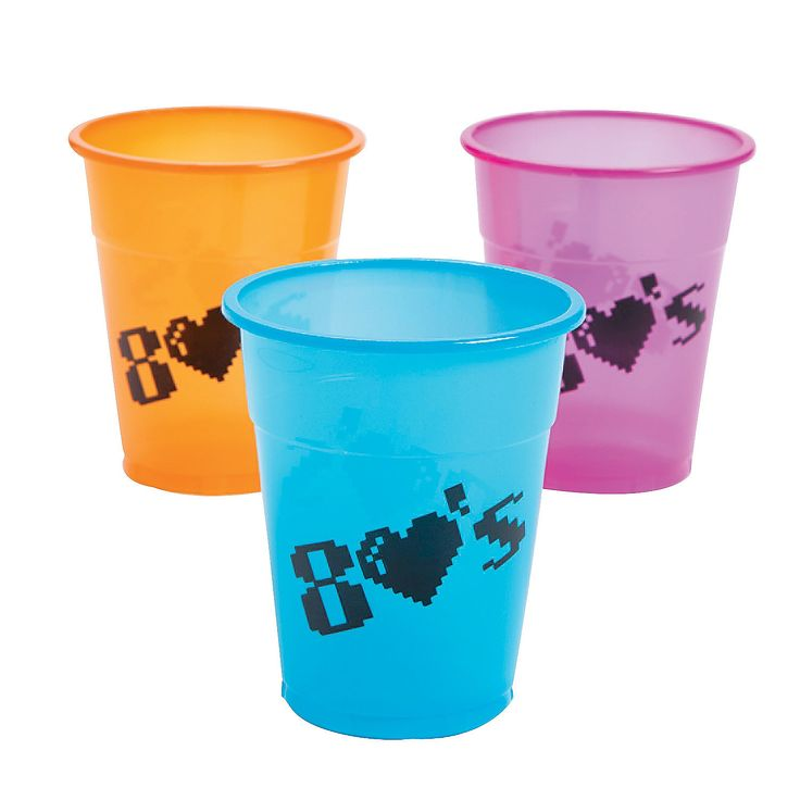 80's Party Disposable Cups - OrientalTrading.com - $4.00 for 25