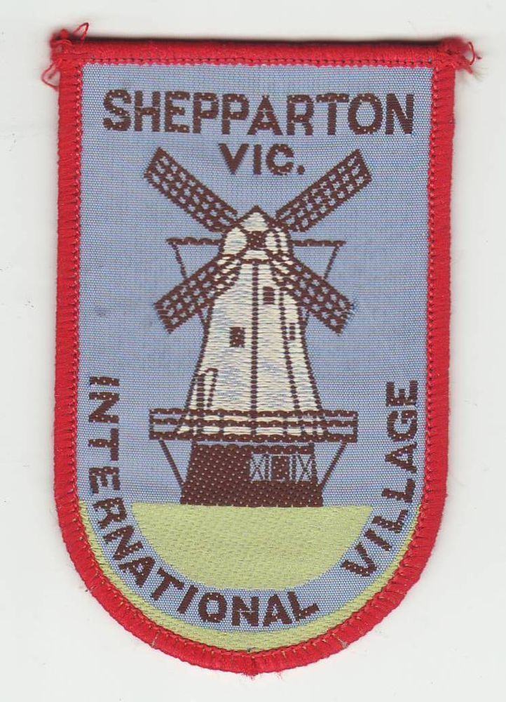 Interesing patch for a minniature village - my home town - I sold this one for $21.50 - CLOTH PATCH - BADGE - SHEPPARTON, VICTORIA, AUSTRALIA - 'International village'