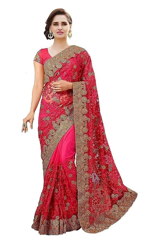 61556cae6e New Indian Women Wedding Party Wear Saree Ethnic Designer Pink Net Sari # fashion #clothing #shoes #accessories #worldtraditionalclothing  #indiapakistan ...