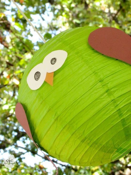 DIY Lantern Owls, made from paper lanterns and card stock! A perfect match for our Happi Tree shower