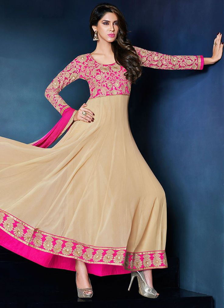 Beige Georgette Ankle Length Anarkali Suit