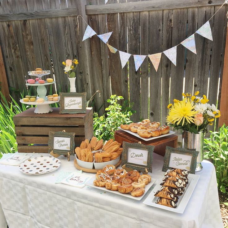 A Backyard Baby Shower With Desserts From Around The World New Adventure Travel Theme