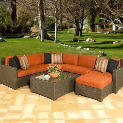 Outdoor Wicker Set: Malibu All Weather Wicker Sectional Set   Seats Up To  7. Porch FurnitureFurniture ...