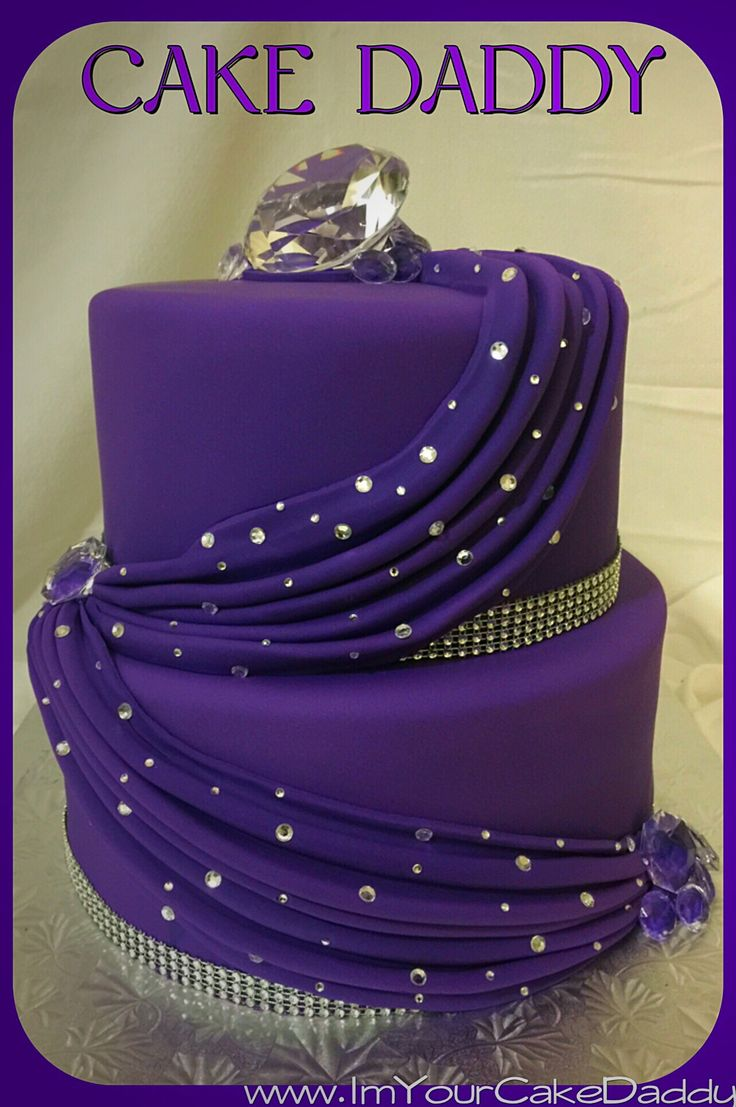 purple drape decor with diamonds and bling two tiered