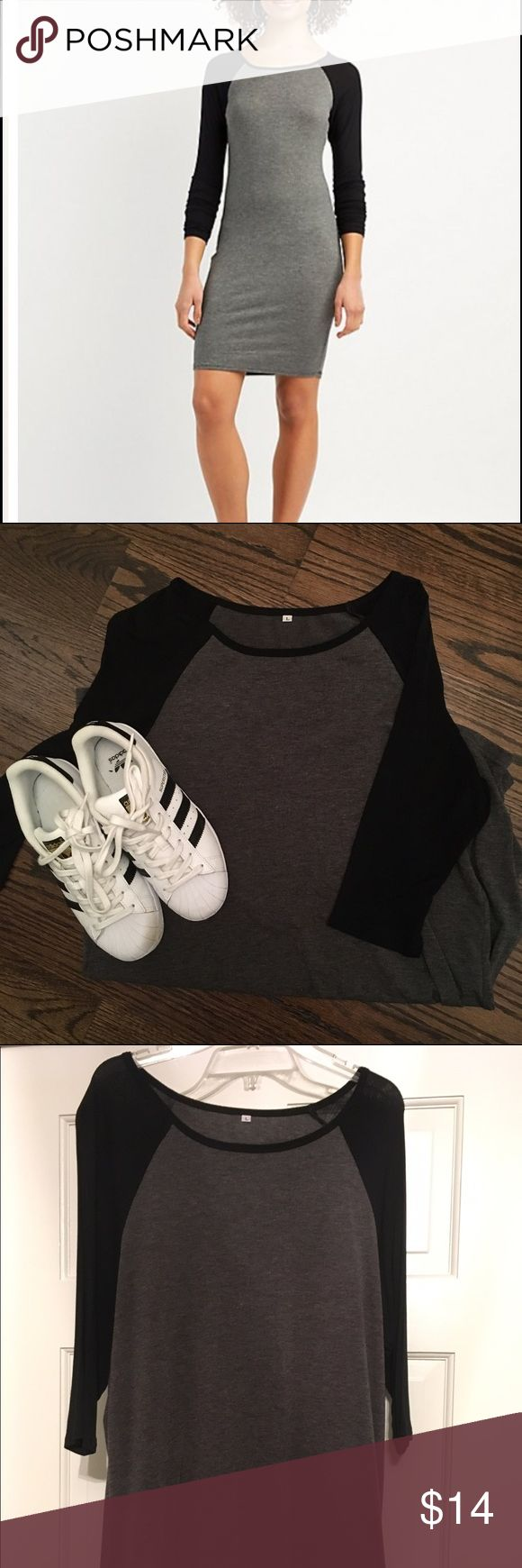 Adorable t-shirt dress Adorable grey t-shirt dress with black sleeves. Pair with chunky loafers or sneakers. Dresses