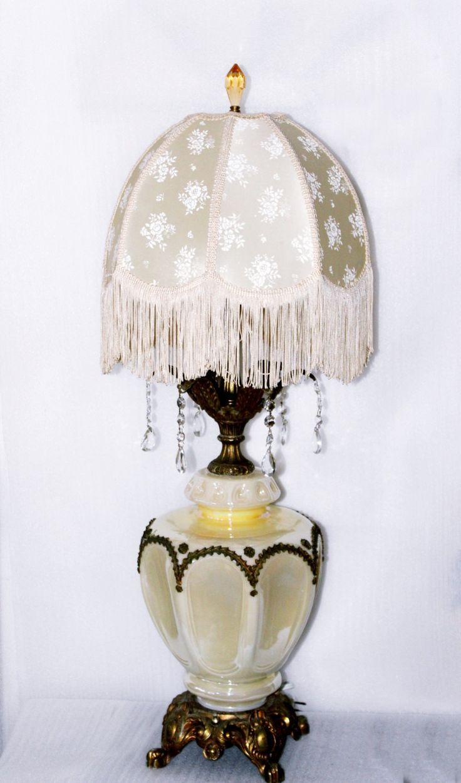 Vintage crystal table lamp - Vintage Ornate Glass Lamp 6 Lead Crystal Tear Drops Vintage Fringe Shade Splash
