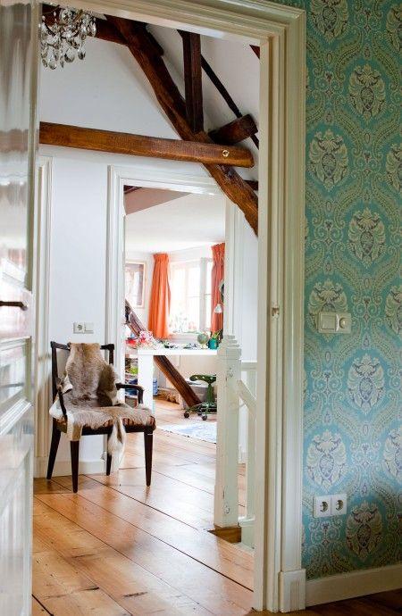 blauw-vintage-behang