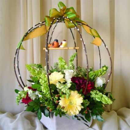 San Diego Wholesale Flowers & Supplies - Planter w/ Snapdragons & Bells of Ireland Arrangement