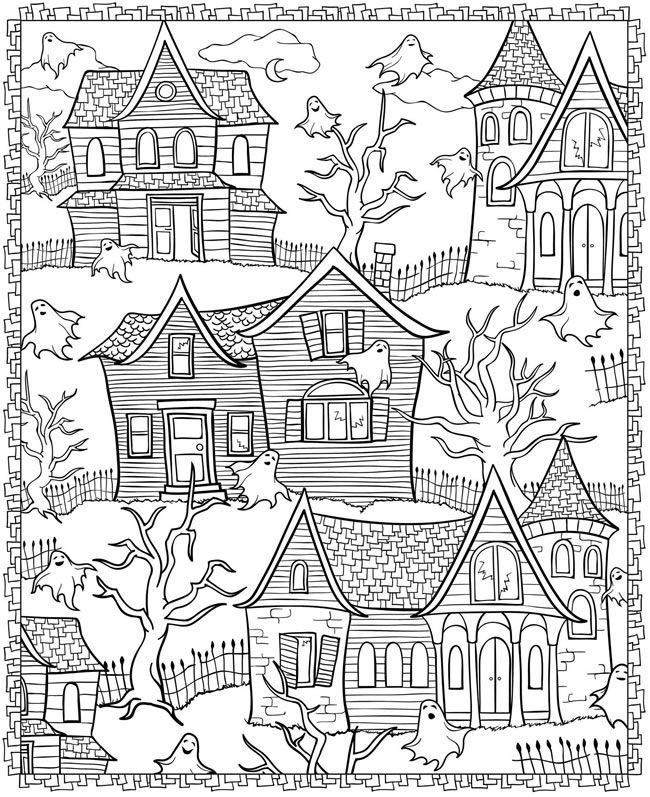 haunted house coloring page happy halloween coloring book dover publications - Dover Coloring Books For Adults