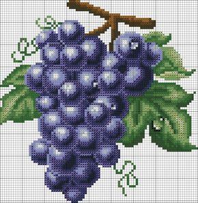 Gráficos ponto cruz de frutas. Uvas ponto cruz.
