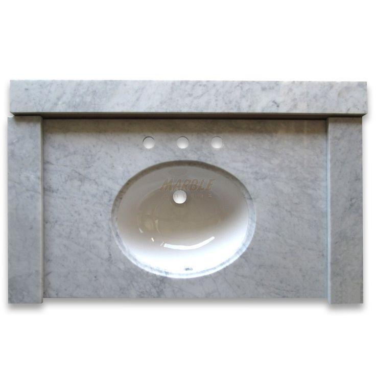 Carrara White 43 inch Vanity Top w/ White Oval Undermount ...