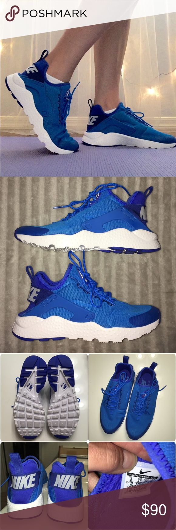 Nike Air Huarache's Run Ultra size 8 Blue and white Huarache's!! Only worn once for these pics! Comes with box- top is gone. Size 8 women's Nike Shoes Athletic Shoes