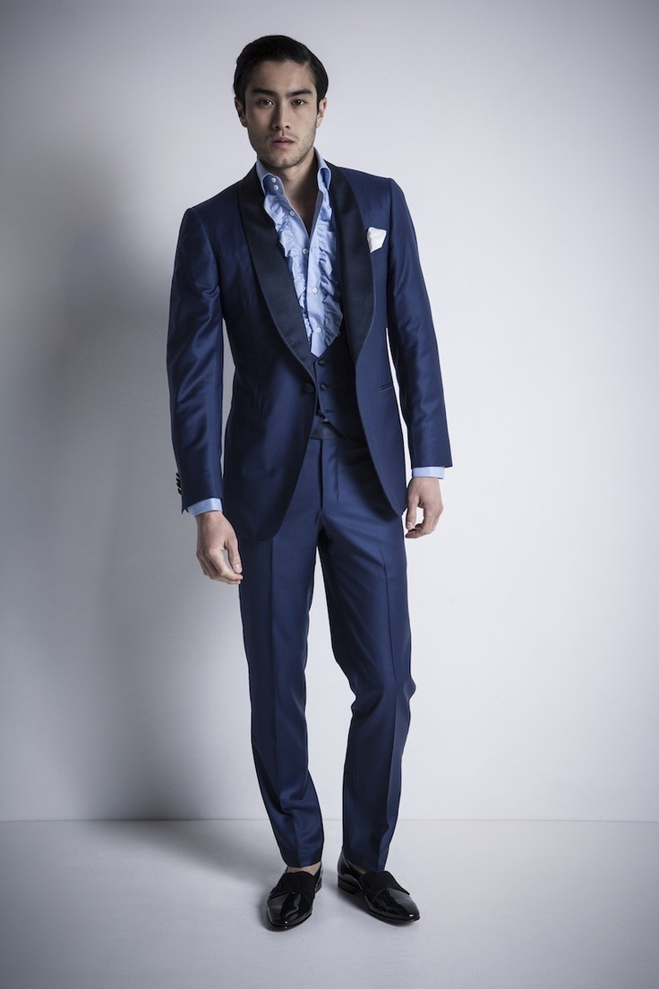 SKU#V3RS-8 Highest Quality Jet Liquid Navy Blue & Chalk Bold White Pinstripe Vested Men's Dress three piece suit Super s Super fine Wool feel poly~rayon 's 30's Fashion Look 3 ~ Three Piece Suit Available in 2 or 3 buttons $