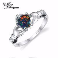 Jewelrypalace zwart fire opal multicolor ierse claddagh regenboog ring solid 925 sterling zilver hart edelsteen sieraden