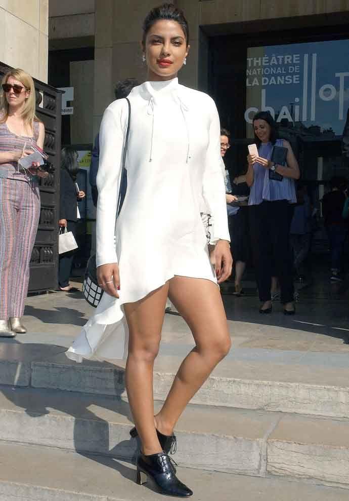 Priyanka Chopra Wears Haute Couture To The Giorgio Armania Paris Fashion Week Show