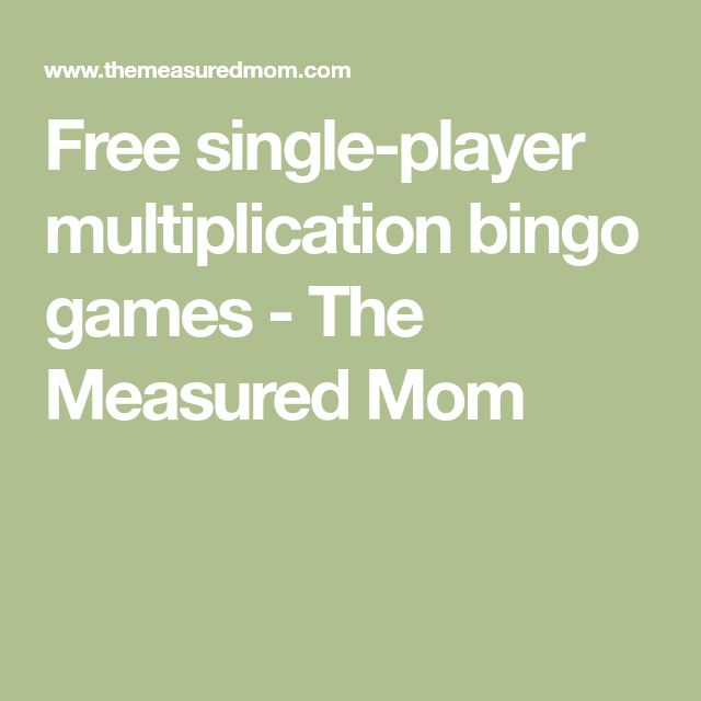 Free single-player multiplication bingo games - The Measured Mom