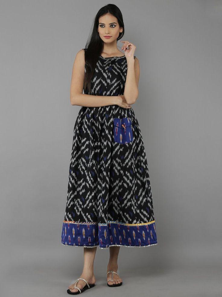 Black Blue Cotton Dress
