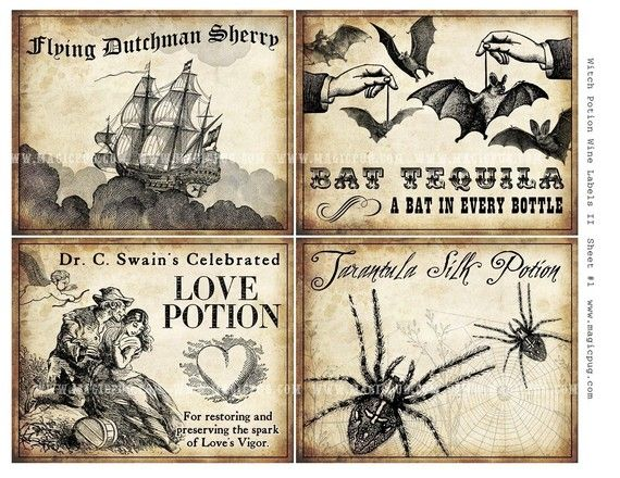 Witch Wine Labels II 4x5 digital collage sheet for potions Halloween dinner parties