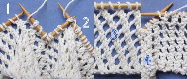 Ce point qui dessine des diagonales de jours est très facile à tricoter. Sur l'endroit, les rangs sont une succession d'un jeté et de deux mailles tricotées ensemble. Sur l'envers, toutes le