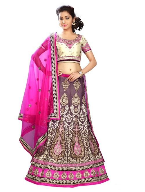 Purple Georgette Lehenga Choli with Embroidery Work