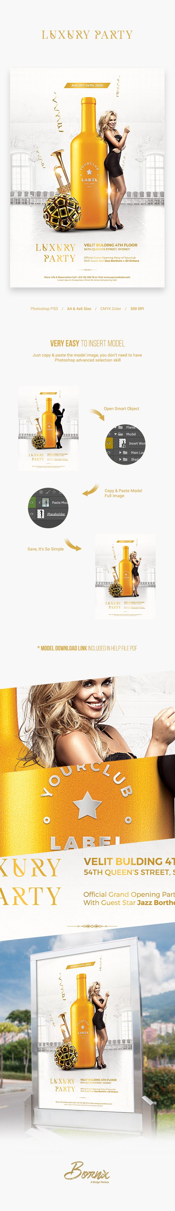 Luxury party flyer template with elegant & classy design, perfect to promote your party or any club event.Editable and very easy to use.You can insert your club label/logo on the bottle easily via Smart Object layer.Available in 2 formats, A4 & 4×6 flyer with bleed in each side. #graphicriver #envato #market #creative #flyer #poster #advertisement #template #photoshop #psd #download #event #party #mockup #logo #label #mock-up