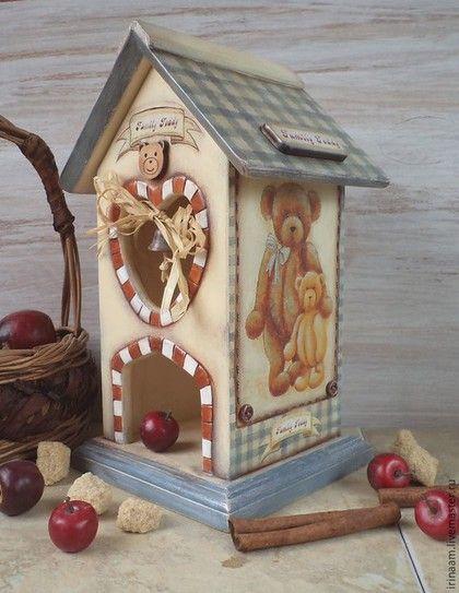 """Кухня ручной работы. Ярмарка Мастеров - ручная работа. Купить """" Family Teddy """"   чайный домик. Handmade. Разноцветный"""