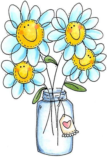 Cute bloemen in glas gezichtjes