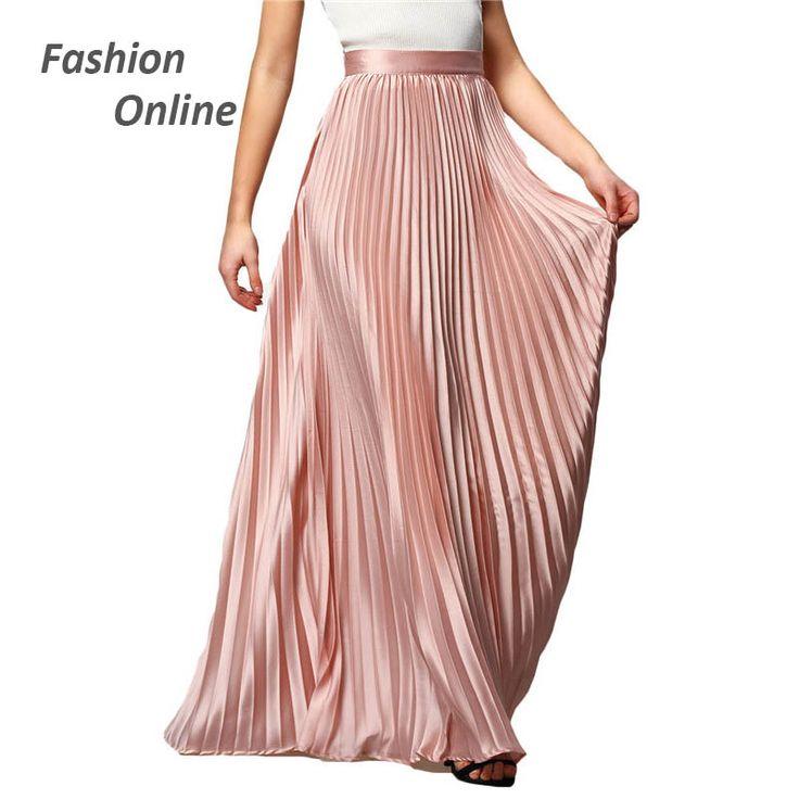 Spring 2017 New Arrival Fashion Designer Elegant Ladies Elastic Waist Pleated Maxi Skirt //Price: $46.18 & FREE Shipping //     #hashtag4