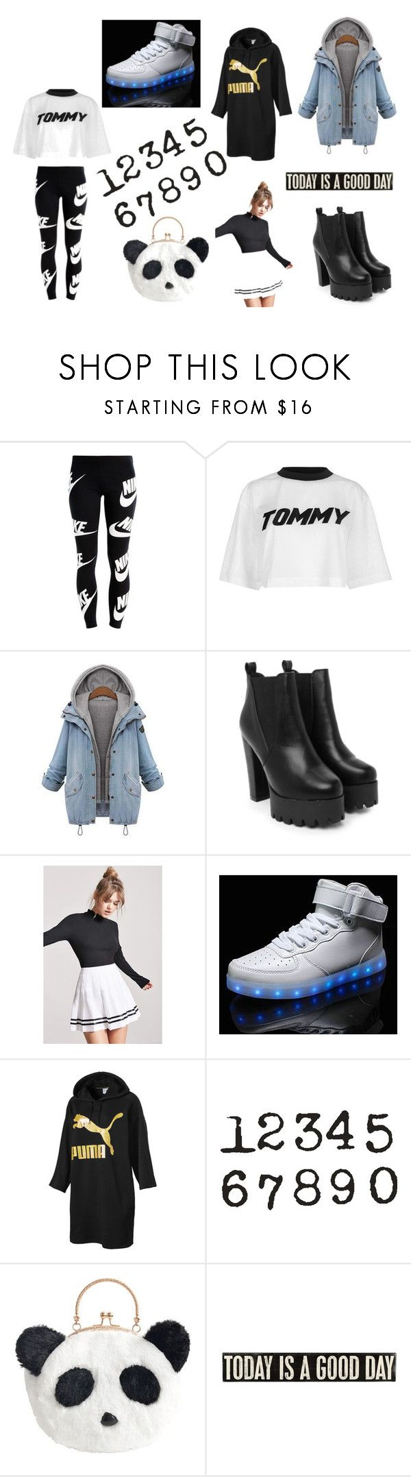 """""""black white"""" by denisemoes on Polyvore featuring NIKE, Tommy Hilfiger, Nasty Gal, Forever 21, Puma en Primitives By Kathy"""