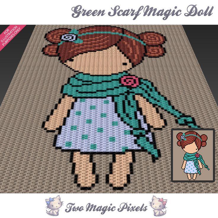 Green Scarf Magic Doll Inspired C2c Graph Crochet Pattern