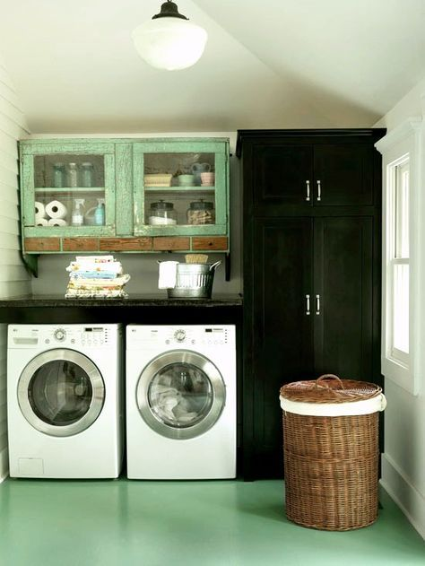upcycled old cabinets for laundry room