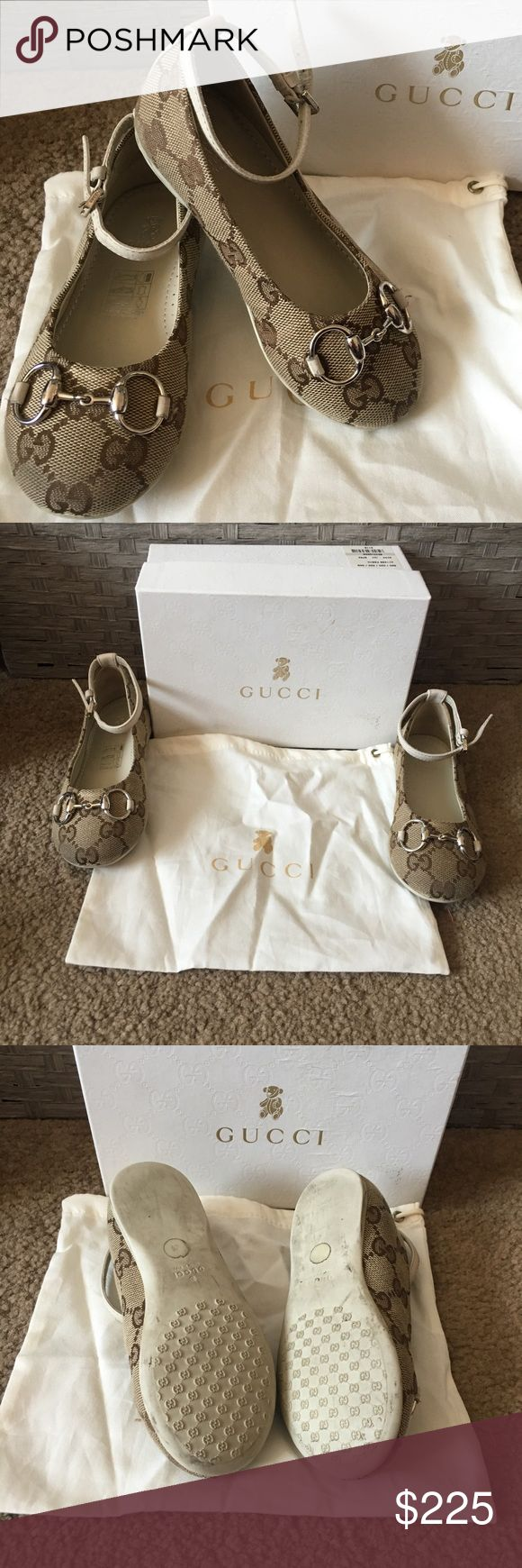 GUCCI *used* Girls Shoes Beautiful size 24 shoes used only 1 time!  Visible signs of wear all over, over all in great condition, please ask any & all questions, dust bag & box included. Gucci Shoes Dress Shoes