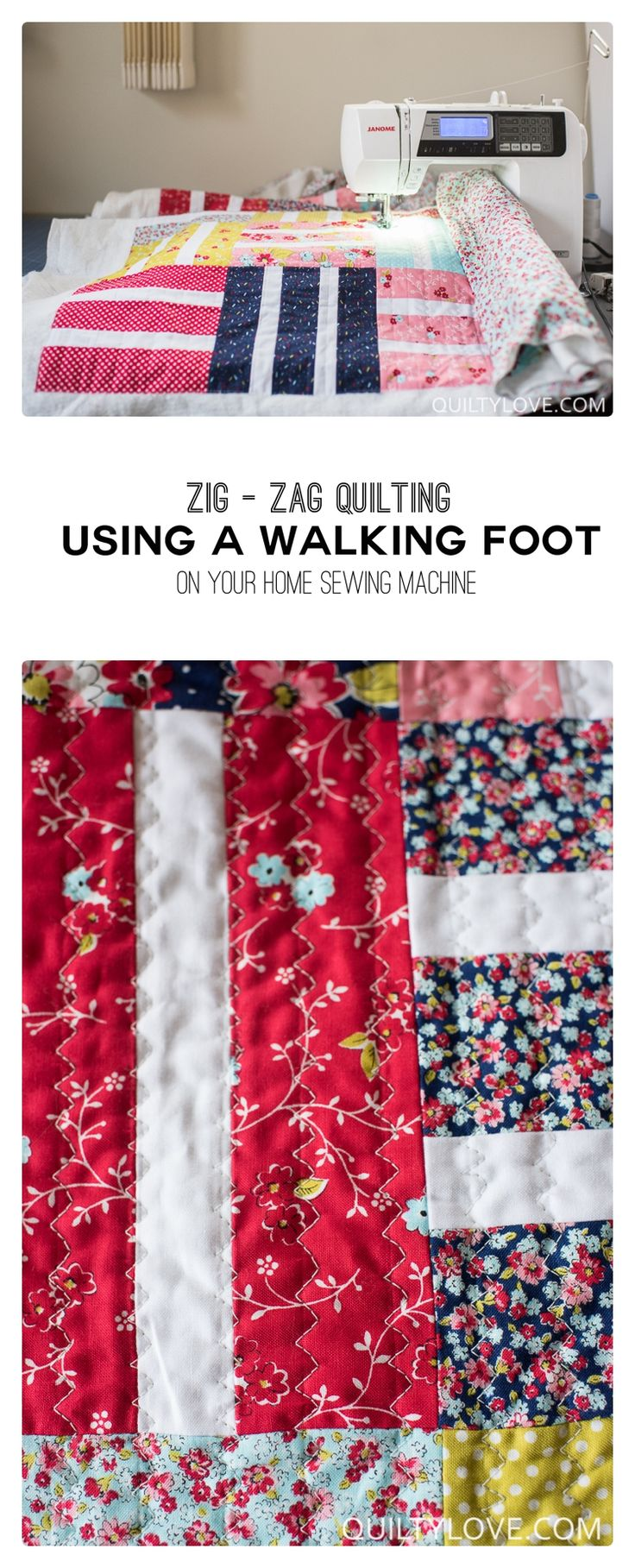 How to quilt zig zag walking foot quilting using your walking foot on your home sewing machine. Easy walking foot quilting to quilt your own quilts.
