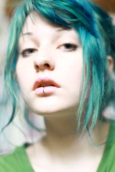 teal hair | rachelinvogue i want a lip ring!