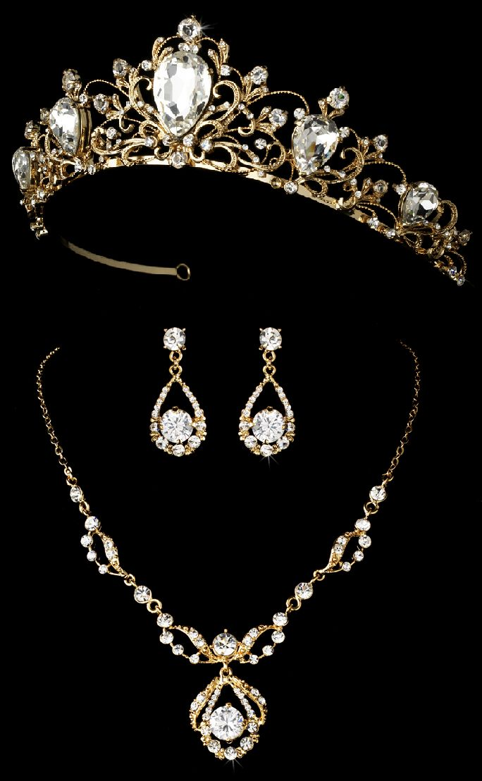 Regal Gold Wedding Tiara and Matching Jewelry Set - Affordable Elegance Bridal -