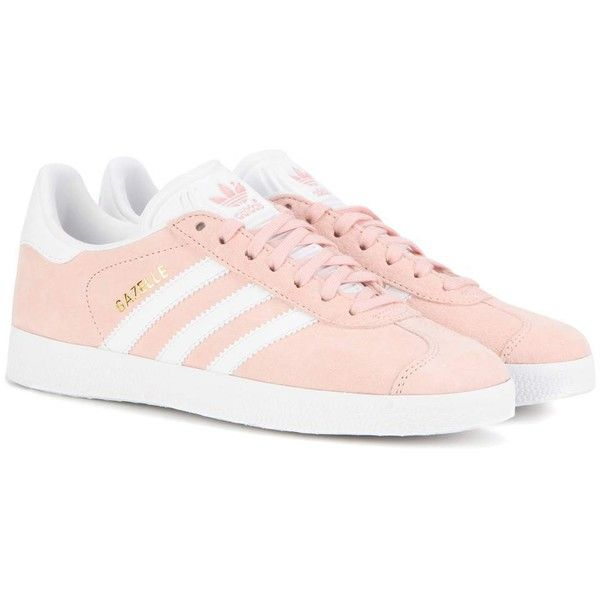 Adidas Originals Gazelle Suede Sneakers ($115) ❤ liked on Polyvore featuring shoes, sneakers, pink, pink sneakers, pink shoes, adidas originals, suede leather shoes and adidas originals trainers