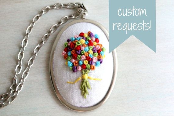 Custom Request Item. Hand Stitched Embroidered Wildflower Bouquet Felt Pendant Necklace. Embroidered Jewelry. Gifts for Her.
