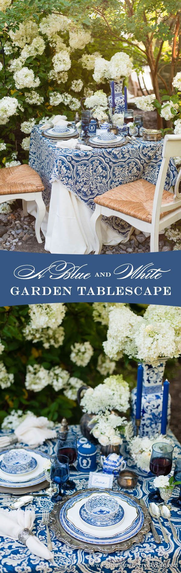 A Blue & White Garden Tablescape   Celebrating everyday life with Jennifer Carroll