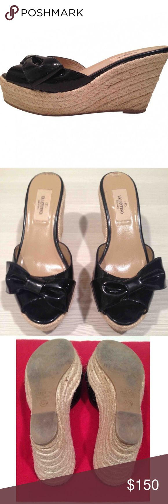 Black Patent Valentino Wedge Sandals Valentino blk patent wedge platform sandal with bow detail; natural raffia braided platform; very comfortable; good condition; includes box and dust bag Valentino Shoes Wedges