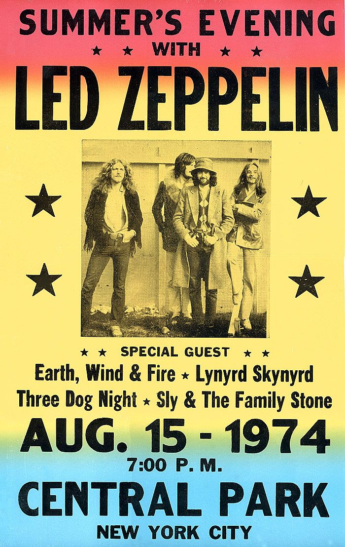 1974 NYC Led Zeppelin / 3 Dog poster