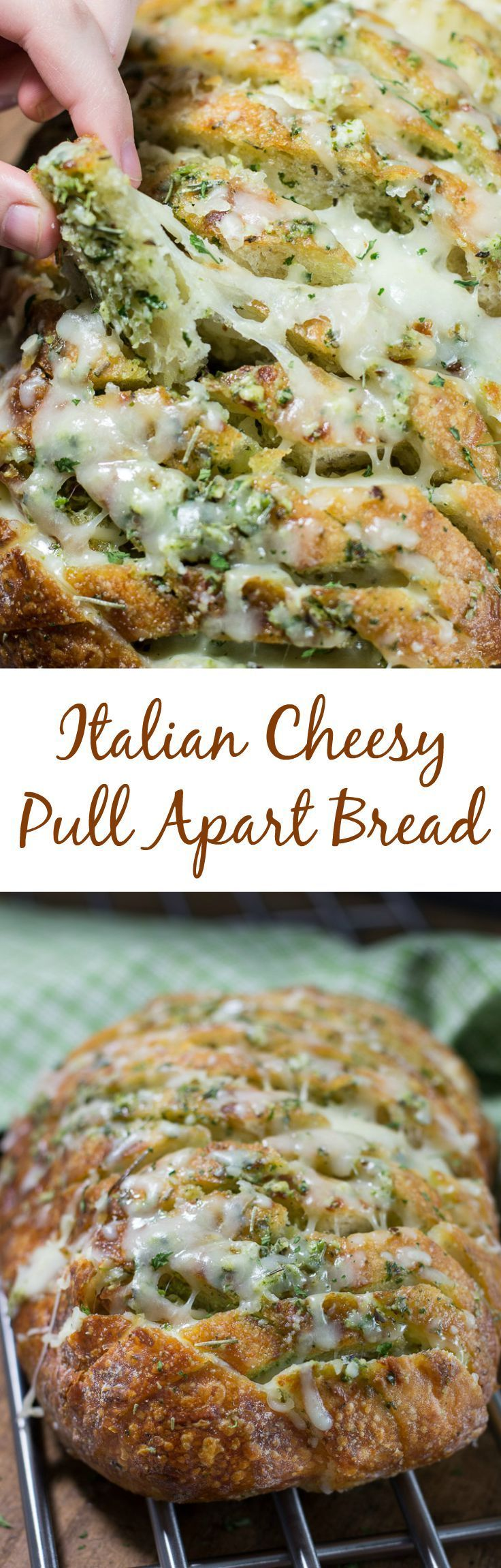 Italian Cheesy Pull Apart Bread | Crazy good and addictive, this Italian Cheesy Pull Apart Bread is sure to be a crowd pleaser. The loaf is filled with a buttery garlic, pesto and Italian herb mixture then generously stuffed with mozzarella cheese to create each perfect bite for this pull apart Italian bread.